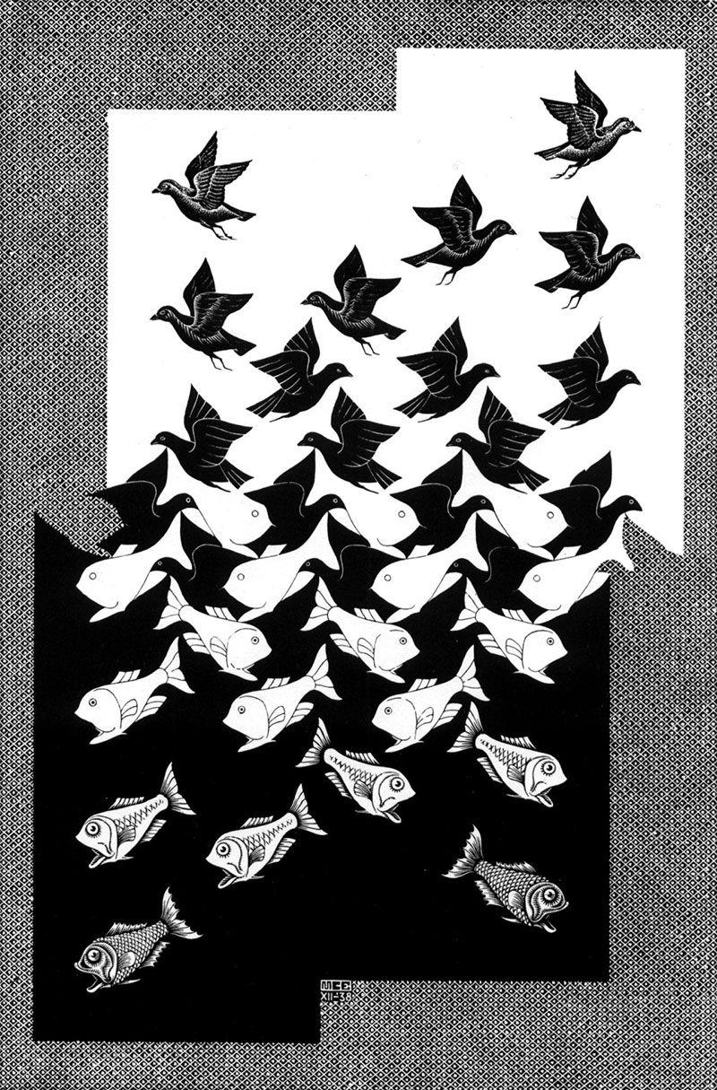 Ciel et eau II (1938) de Escher