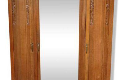 Armoire évolutive Art Déco Chêne et miroir L156 -  300 euros