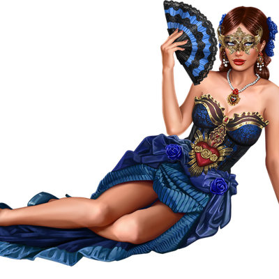 Femme - Rousse - Sexy - Carnaval - Masque - Eventail - Render/Tube - Gratuit