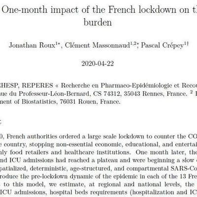 Covid-19 : le confinement a sauvé plus de 60 000 vies en France