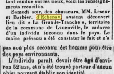 TRAGIQUE PARTIE DE CHASSE POUR PIERRE LESEUR ET LOUIS BARBIER - ECHENAY 1906