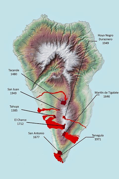 Historical eruptions of Cumbre Vieja with dates - Doc. Canarias volcanoes