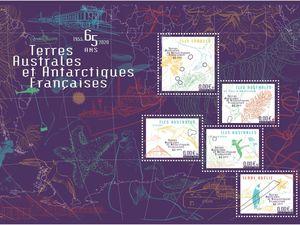 Les quatre maquettes du bloc du 65ème anniversaire des TAAF, émission hors programme 2020. Elles sont signées Patte & Besset et déclinées de la carte de vœux de Madame La Préfète. Le bloc définitif devrait se rapprocher de l'image en bas à droite.