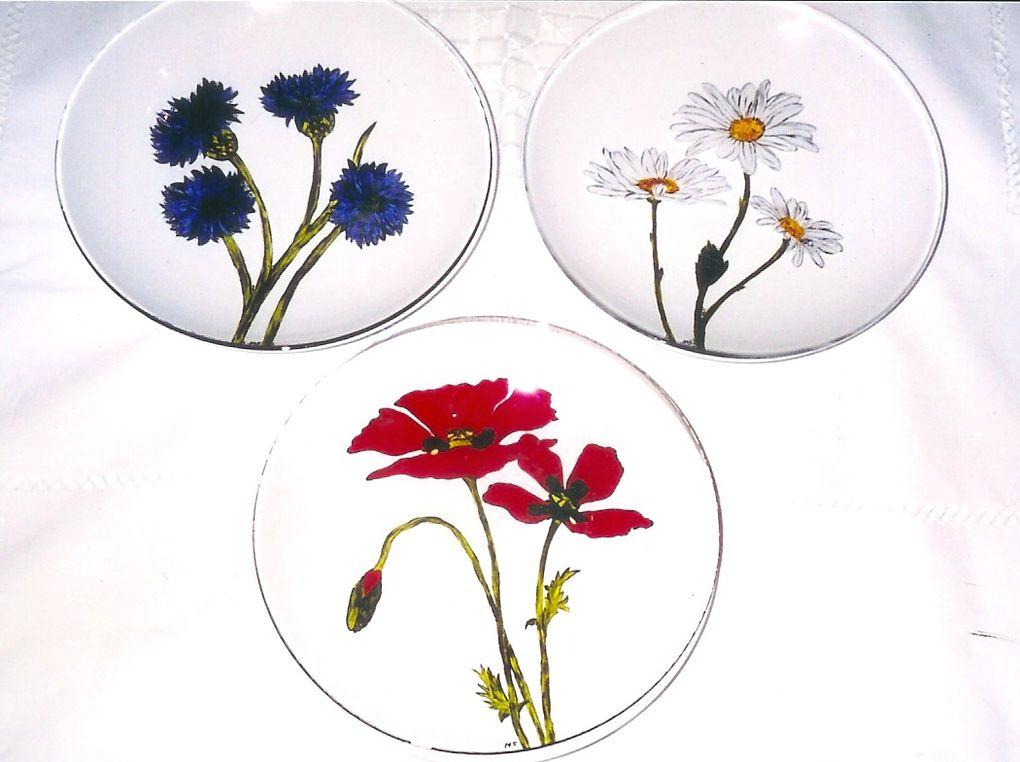 Peinture sur verre - Assiettes peintes à la main - couleurs