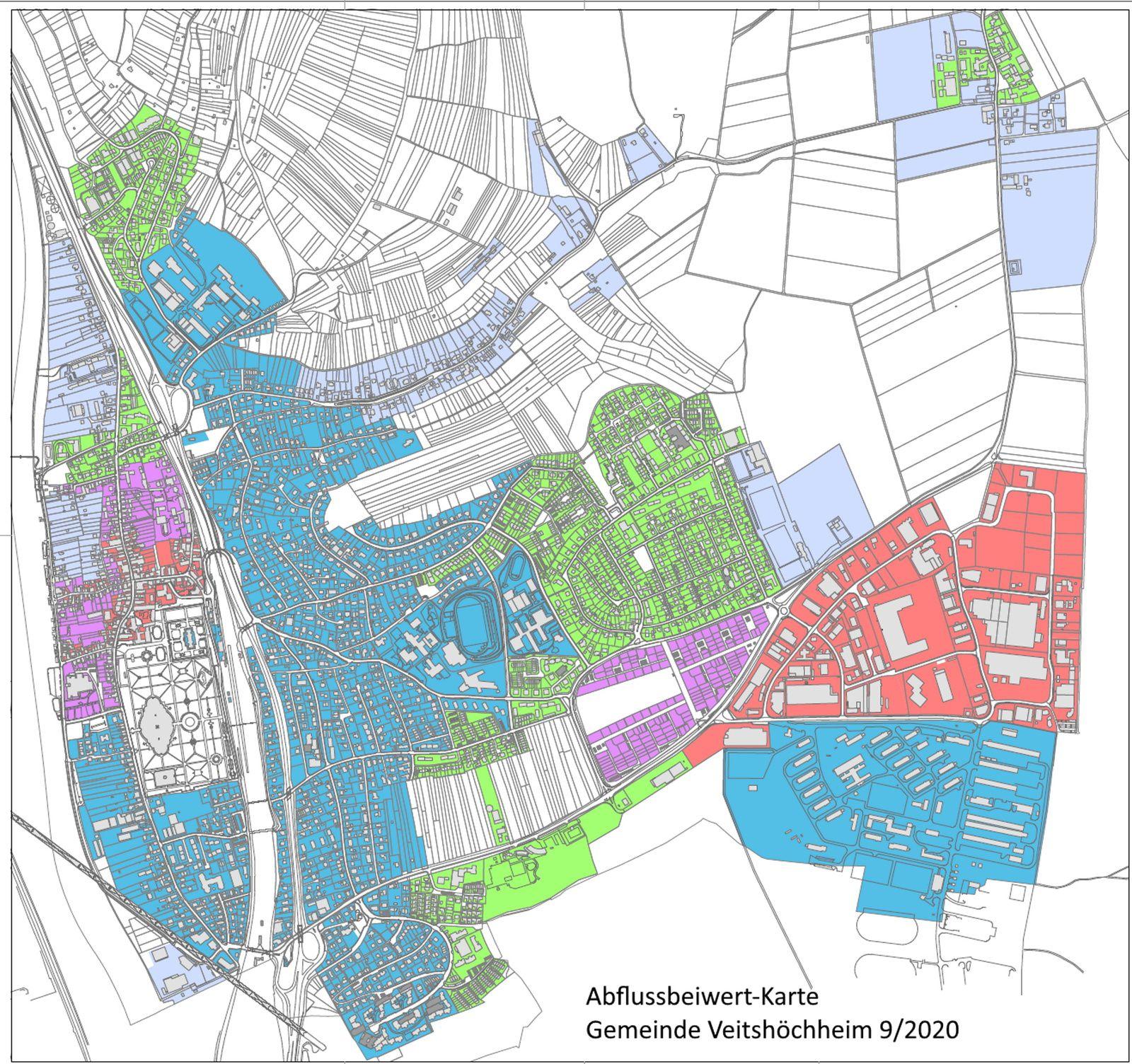 Niederschlagswassergebühren: Veitshöchheimer Gemeinderat ordnete das neue Wohngebiet SANDÄCKER der Zone IV mit einem Abflussbeiwert von 0,6 zu