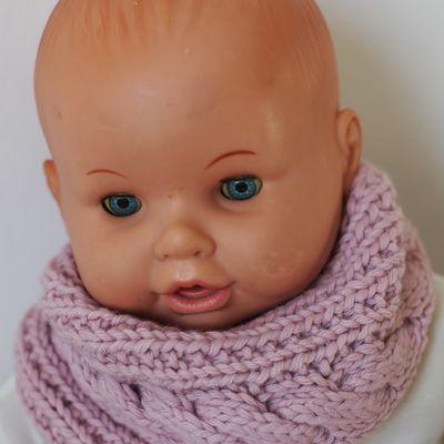 Handmade pink baby snood