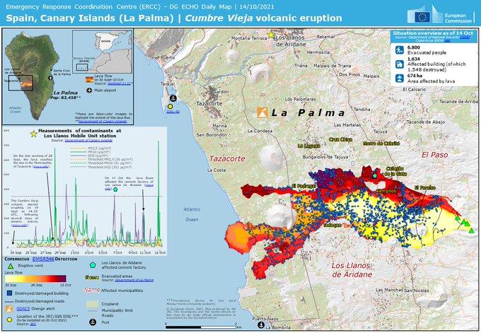 La Palma / Cumbre Vieja  -  cartes de coulées, des évacuations, des zones tochées, etc au 14.10.2021  - Doc. ERCC / Commission européenne - un clic pour agrandir