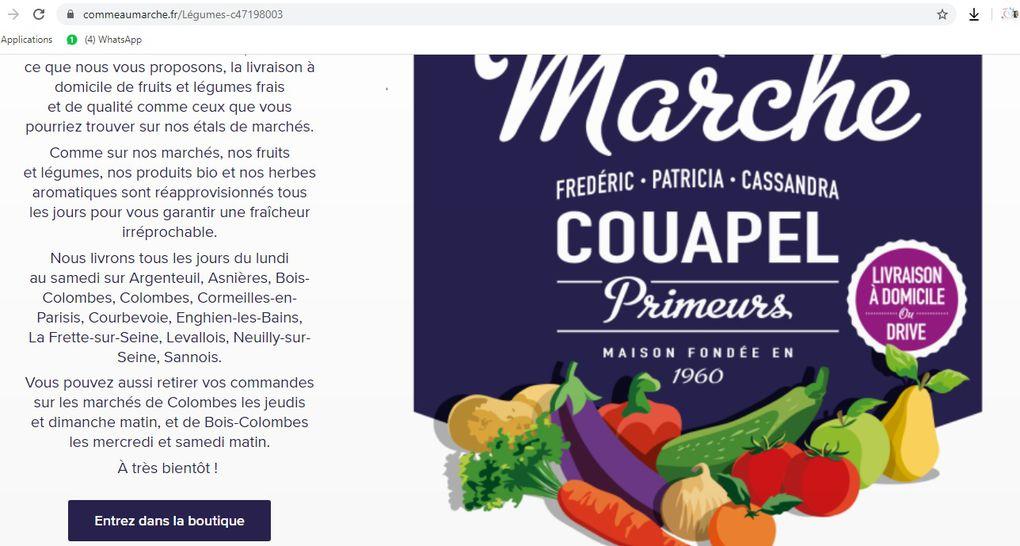 Le Primeur COUAPEL de Colombes change de site internet et continue la livraison à domicile