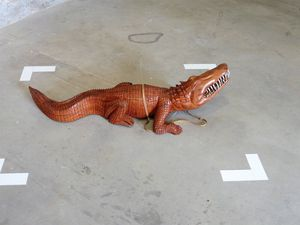 """Moussa Sarr """"Untitled (crocodile made with wood)"""" (2014) and """"the call"""" (2013)"""