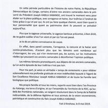RDC : analyse critique de la lettre de Kalev Mutond