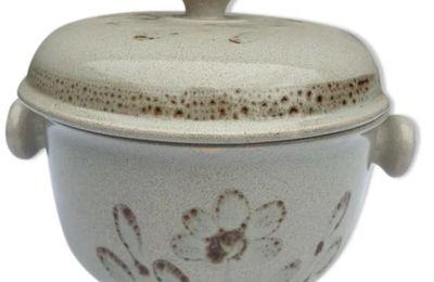 Soupière ou vinaigrier Sarreguemines Morzine 1970 grise décor floral marron - 25 euros