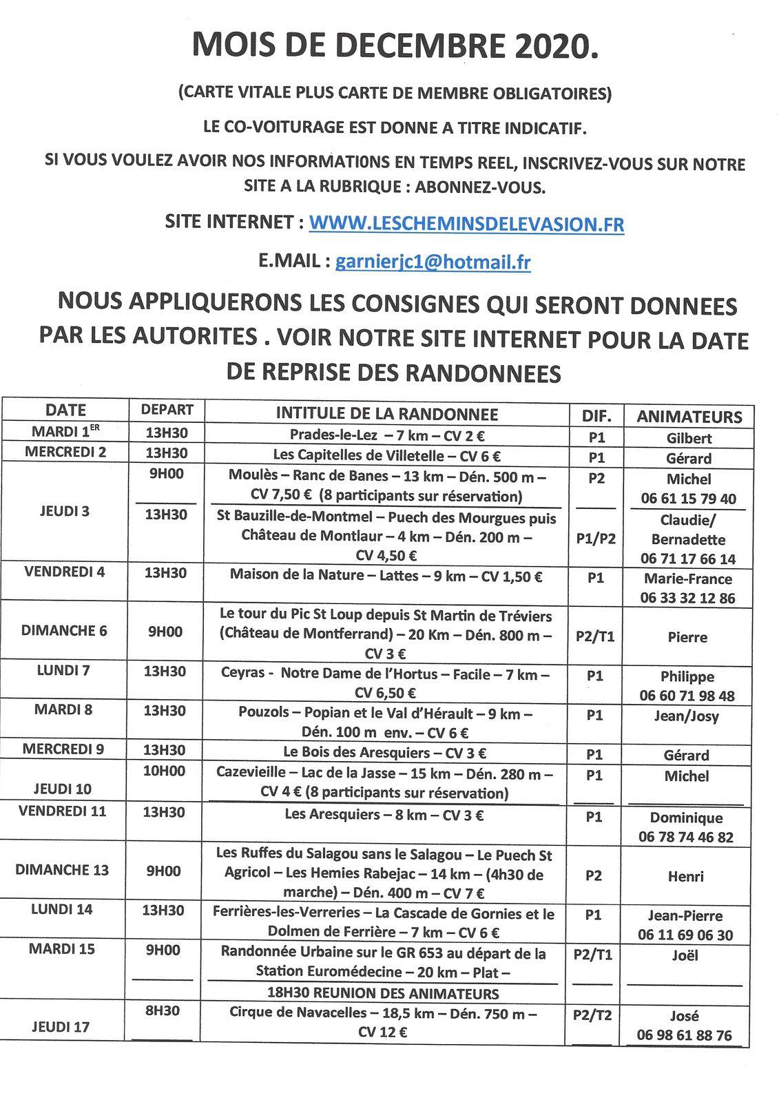 REPRISE DES RANDONNEES LE 15 DECEMBRE EN FONCTION DE LA REGLEMENTATION EN VIGEUR CE JOUR LA.