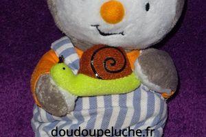 Doudou T'choupi Jemini 20 cm, avec son escargot, www.doudoupeluche.fr