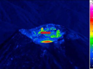 Colima - variation de l'activité fumerolienne et prise de température à la caméra thermique  - doc. Univ. Colima 29.02.2016