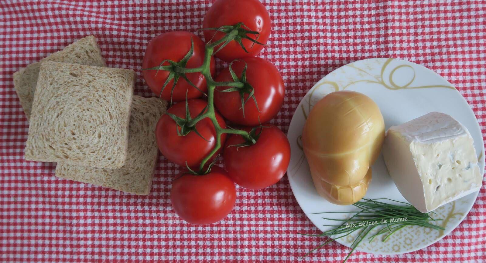 Gratin de tomates aux deux fromages, sur pain de mie