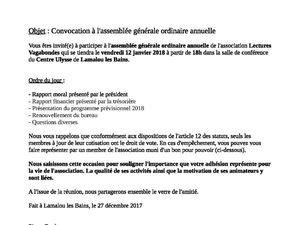 Assemblée Générale, vendredi 12 janvier, 18h, Centre Ulysse à Lamalou les Bains