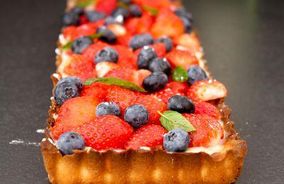 Tarte aux fraises et myrtilles