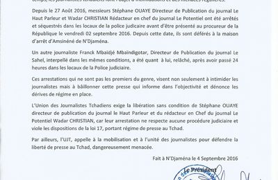 Dégradation de la liberté de presse au Tchad: l'UJT interpelle l'opinion publique