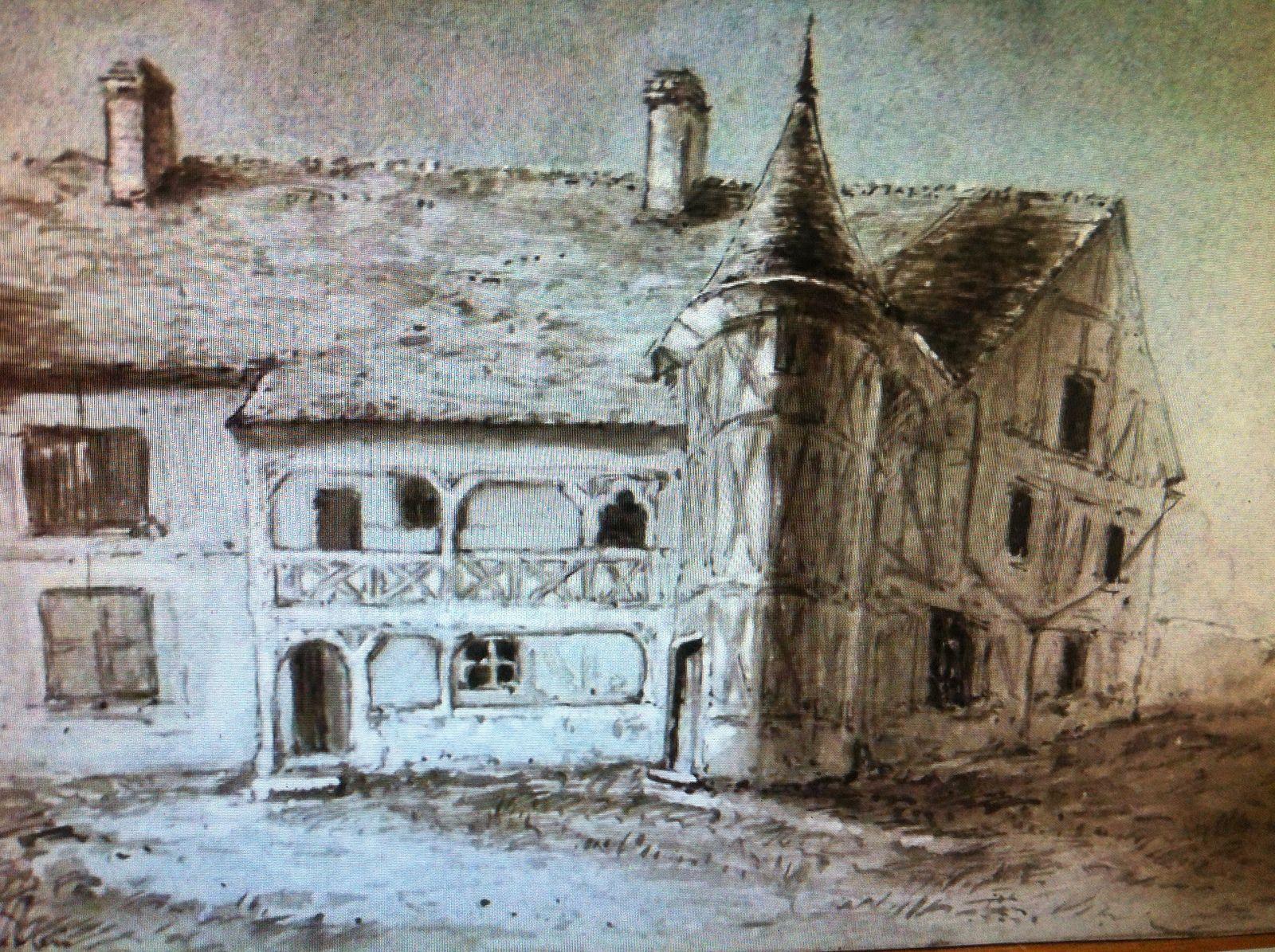 Le second manoir des Hellenvilliers (XVIIe siècle), côté cour, d'après une aquarelle signée Dubourg (avec nos remerciements à Jean-Charles Juillard).