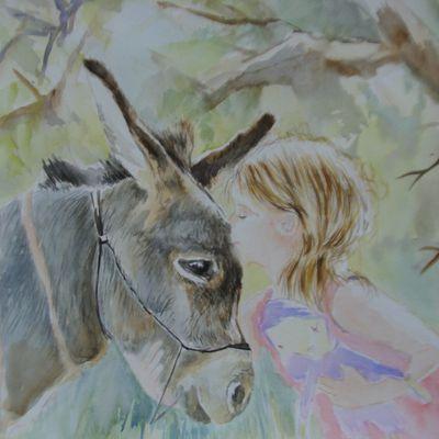 Aquarelle pas à pas : la petite fille et son ami l'âne