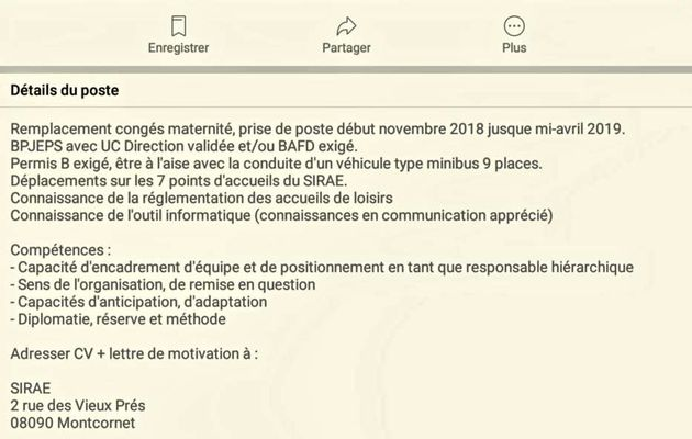Offre d'Emploi Sirae