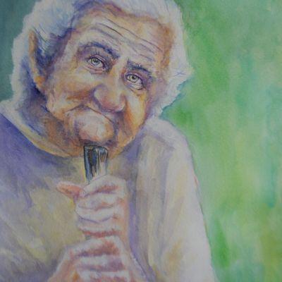 Aquarelle : grand-mère