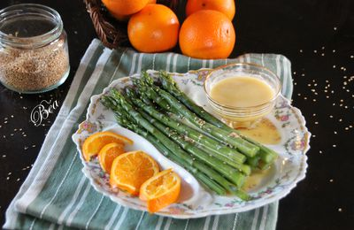 Asperges vertes vinaigrette à l'orange