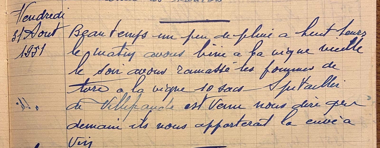 Vendredi 31 août 1951 - ramasser les pommes de terre