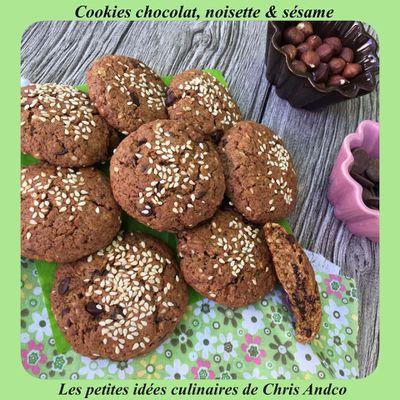 Cookies chocolat, noisette et sésame (IG Bas)