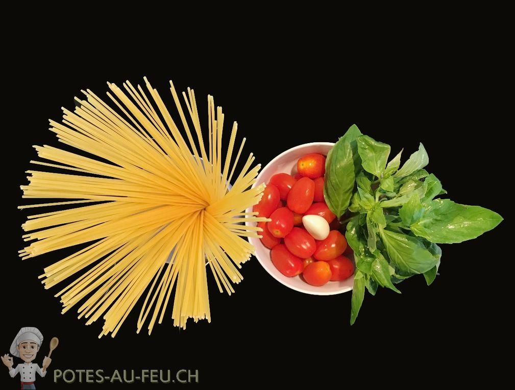 Spaghettis aux Tomates Cerises et Basilic
