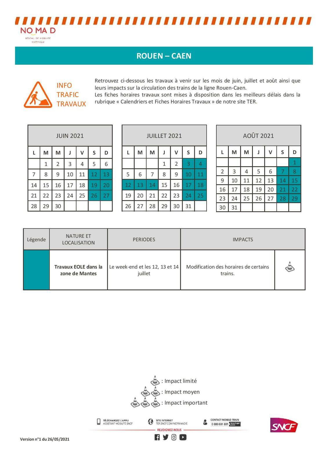 Calendrier des travaux juin, juillet, août 2021