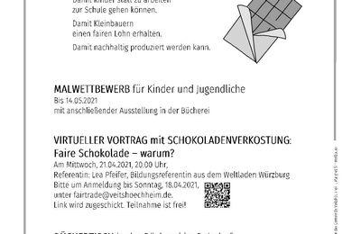 Fairtrade-Gemeinde Veitshöchheim schreibt Malwettbewerb BAU EINER BRÜCKE MIT FAIRER SCHOKOLADE aus
