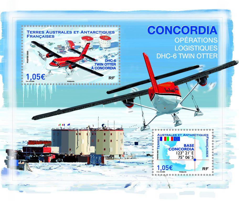 La station Robert Guillard, la base Concordia et son avion Twin Otter et le Ciel austral, pour la Terre Adélie.