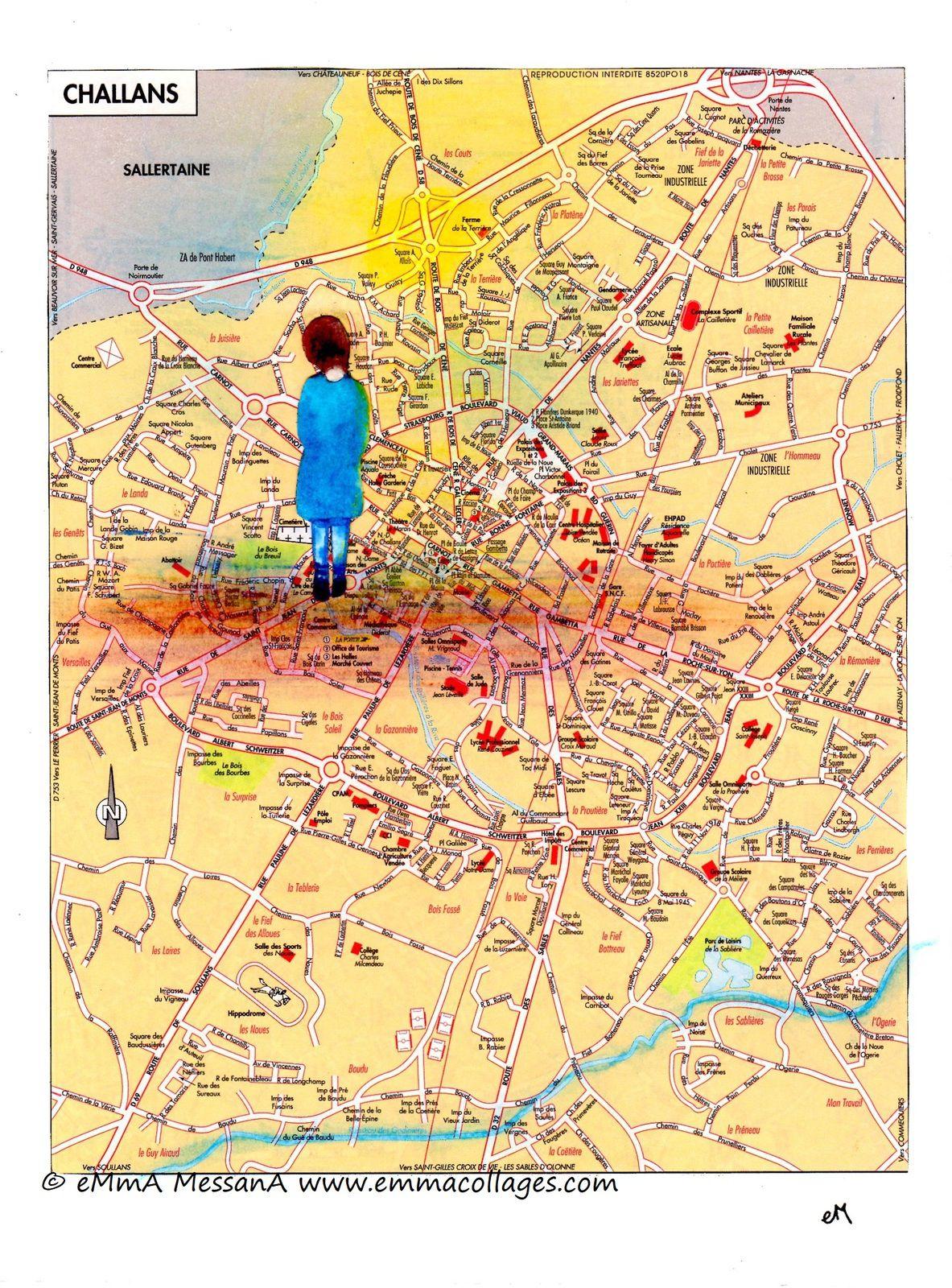 """Les Collages d'eMmA MessanA, collage N°477 """"En robe bleu canard"""", pièce unique © eMmA MessanA"""