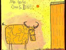 Une vache triste sous la lune ...