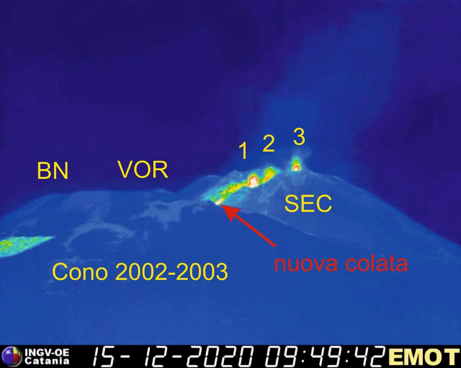 Etna - 3 active mouths in the morning on 12/15/2020 at the south-eastern crater, and lava flow - Doc. INGV