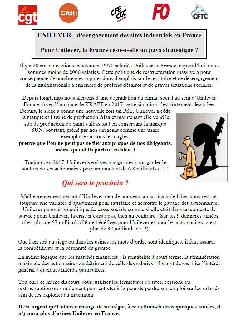 UNILEVER : désengagement des sites industriels en France