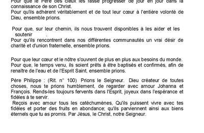 Prière Universelle du dimanche 24/01