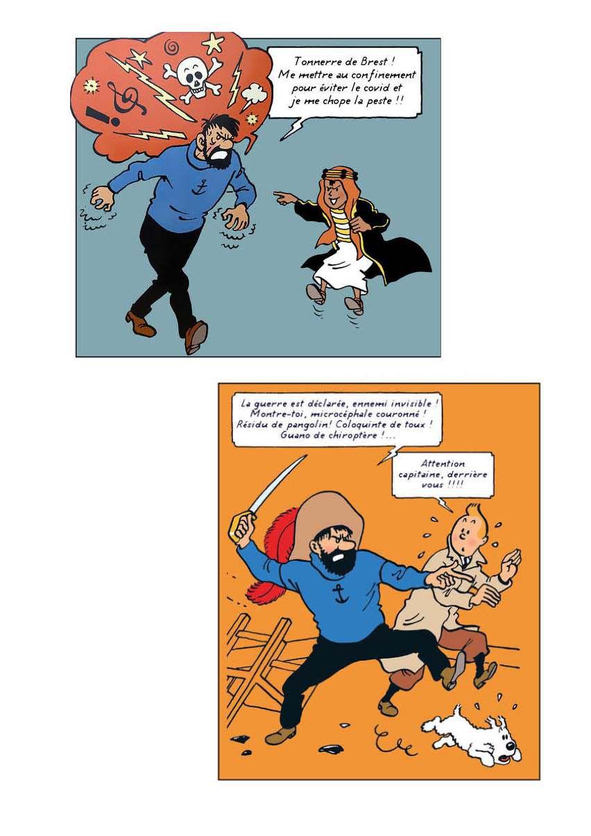 Bandes dessinées Tintin et la Covid 19 Humour