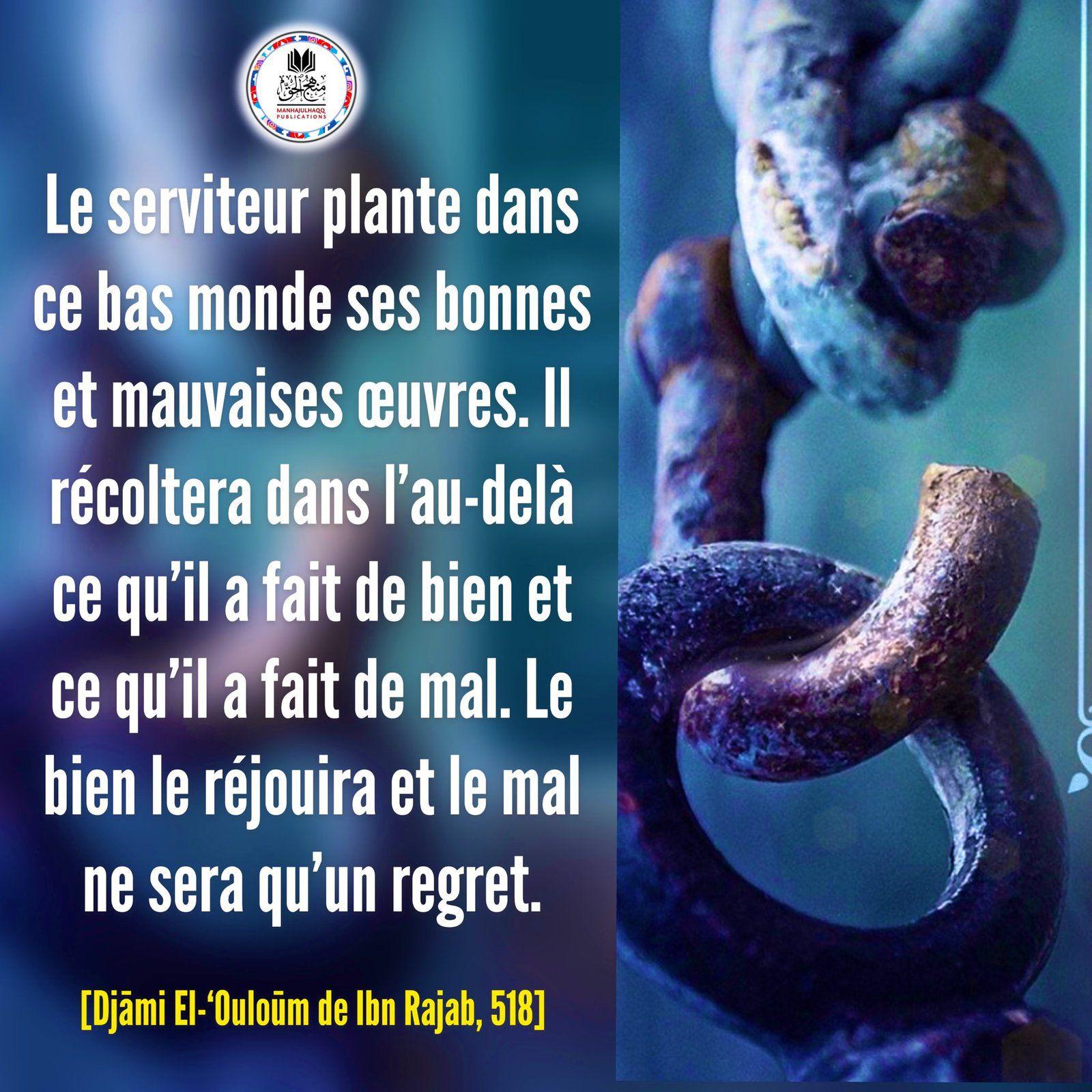 Le serviteur plante dans ce bas monde ses bonnes et mauvaises œuvres...