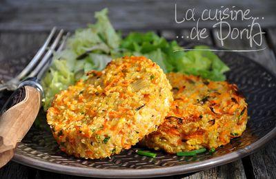 Galettes de quinoa, carottes au Boursin et ciboulette
