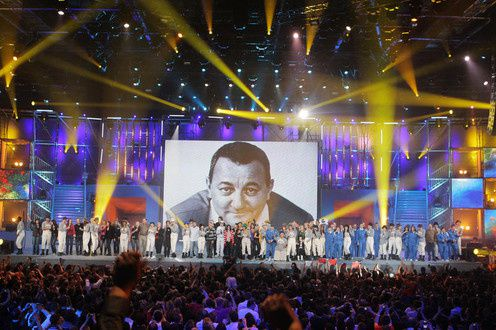 Photos du spectacle des Enfoirés pour les Restos du coeur à Nice, mars 2010.