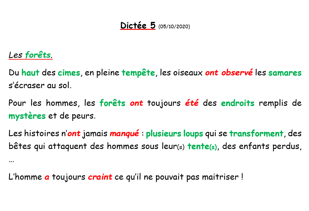 C2. Dictées précédentes - Textes + AUDIO (par les enfants)