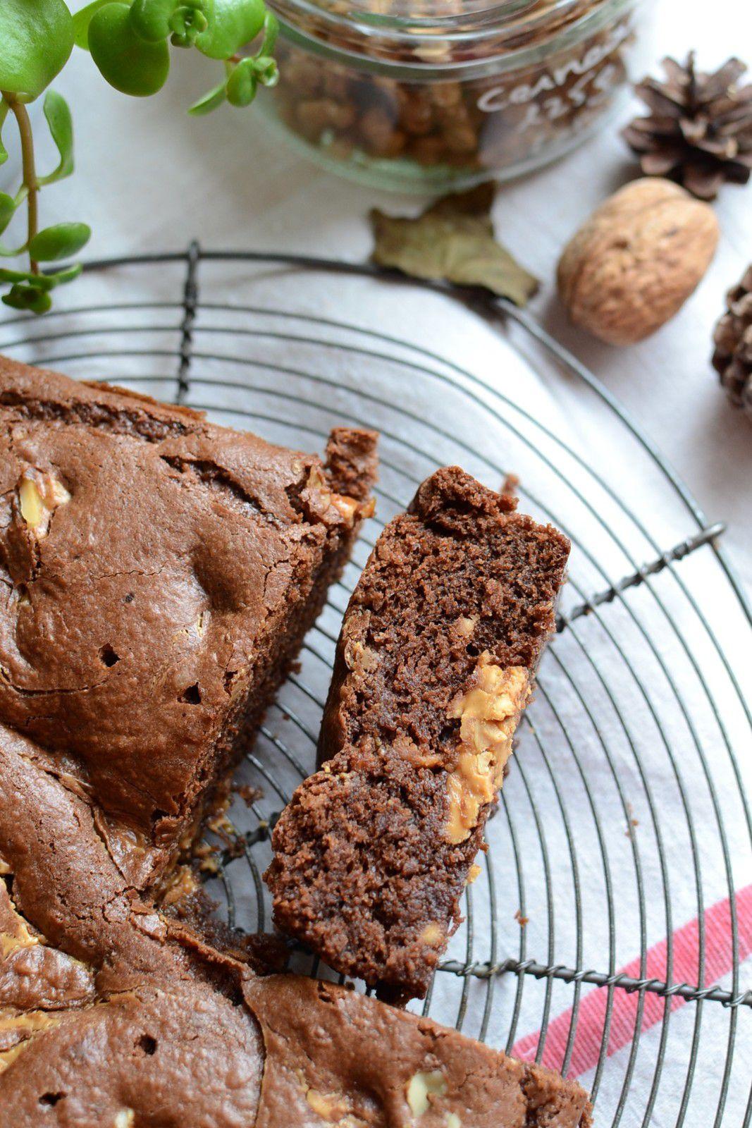 Brownie au beurre de cacahouète et noix #sans beurre #sans lait #sans oeuf - végan