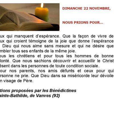 Prières Universelles du Dimanche 22/11