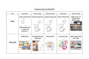 Planning semaine 27