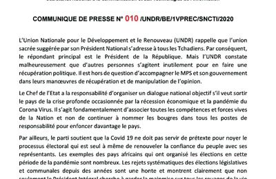 Tchad: l'UNDR refuse d'accompagner Idriss Deby dans ses manoeuvres de manipuler l'opinion
