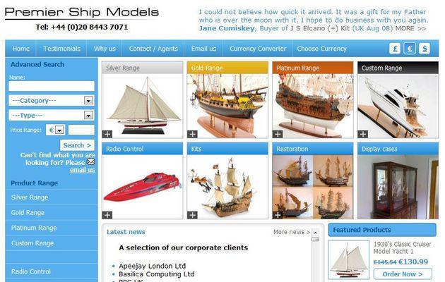 Premier Ship Models, le spécialiste des modèles réduits de bateaux, sur internet
