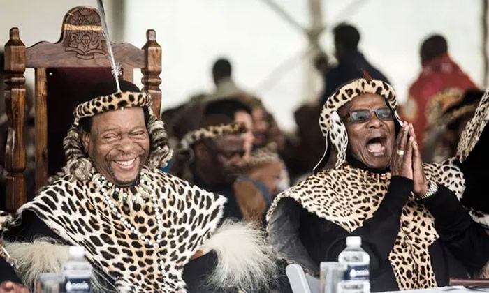 King Goodwill Zwelithini of the Zulu nation, left, and the political leader and former chief minister Mangosuthu Buthelezi at the King Shaka day celebration, 2019. Photograph: Rajesh Jantilal/AFP/Getty Images