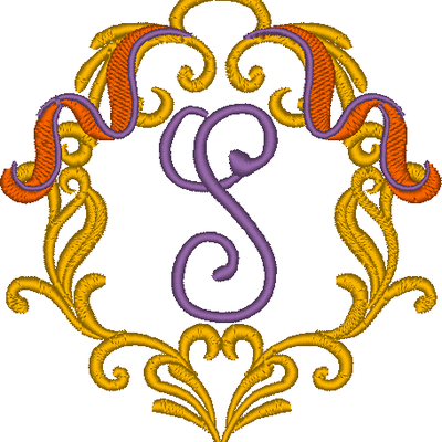 Cadre baroque la lettre S